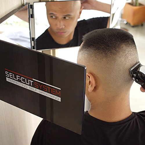 SELF-CUT SYSTEM Travel Version - Three Way Mirror for Self Hair Cutting with Height Adjustable Telescoping Hooks and Free Educational Mobile App (3 Over Way Mirror The Door)