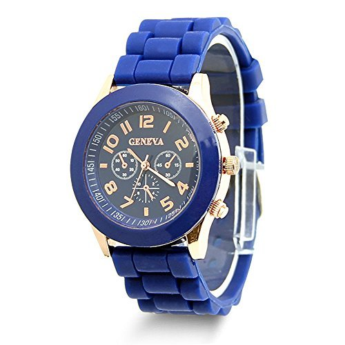 HeroNeo Classic Womens Girls Geneva Silicone Jelly Gel Quartz Analog Sports Wrist Watch (Royal ()