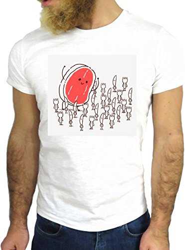 T SHIRT JODE Z1526 MEAT FORK KNIVES CARTOON FUNNY ENJOY COOL FASHION NICE GGG24 BIANCA - WHITE M