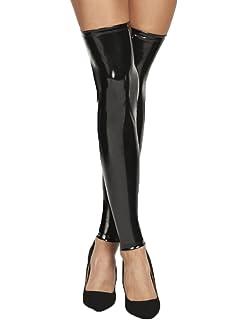 6c0c4fee12aef4 7-Heaven Schwarze Damen Dessous wetlook Strümpfe Stockings mit  Reißverschluss Stulpen