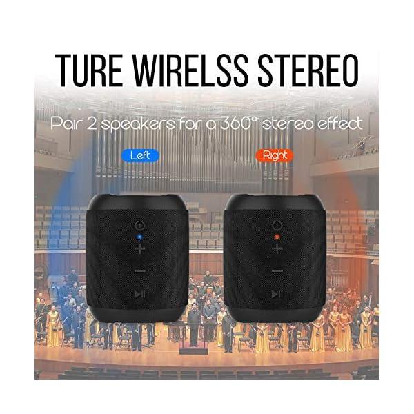 Enceinte Bluetooth Portable, 20W Enceinte Bluetooth Waterproof Audio HD, TWS Haut Parleur Bluetooth 5.0 Pilote Double avec Son 360°, 16 Heures Autonomie Mains Libres Téléphone Support FM, AUX, TF-Noir 3
