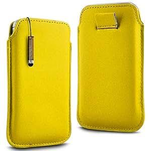 Direct-2-Your-Door - Nokia Lumia 625 Prima Soft PU del tirón del cuero de la piel Caso Tire de la tabulación y Mini Stylus Pen - Amarillo