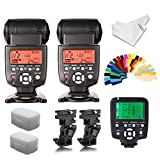 YONGNUO YN560III Flash Speedlite 2pcs +YN560TX Flash Controller for Canon Cameras+INSEESI B Type Flash Swivel Bracket+2 Flash Diffusers+20 Color Gels+Clean Cloth