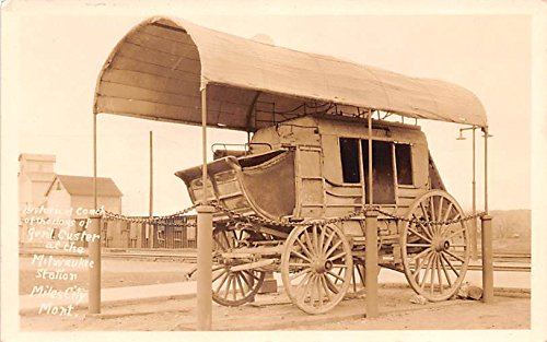 Historical Coach of the days of Gen. Custer Miles City, Montana postcard