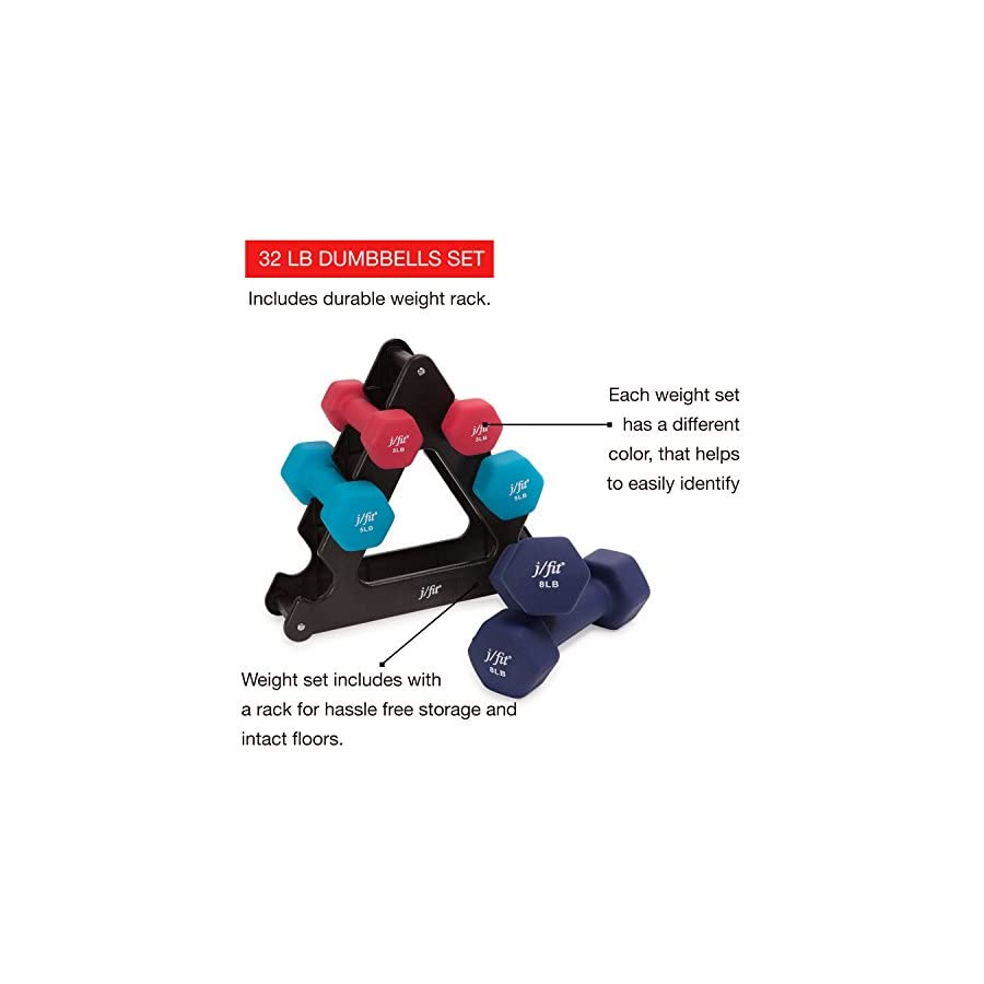 j/fit Dumbbell Set w/Durable Rack | Solid Design | Double Neoprene Coated Workout Weights Non Chip and Flake | Dumbbells Sets For Gyms, Pilates, MMA, Training, Schools, Rehabilitation Centers