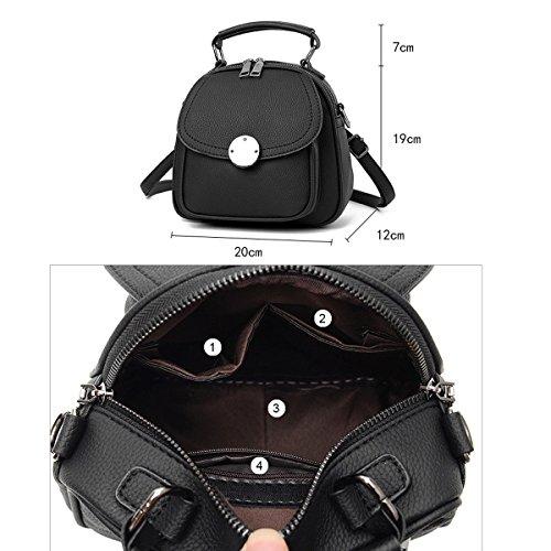 Mujer Nueva Mochila PU estilo Escolar Bolsos De Hombro Bolsos Mochilas Escolares Moda Bolso Black