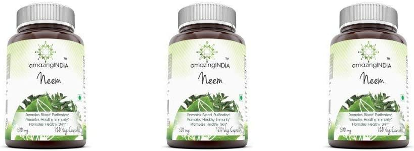 Amazing India Neem 500 Mg 120 Vegetarian Capsules * Promotes Blood Purification Pack of 3