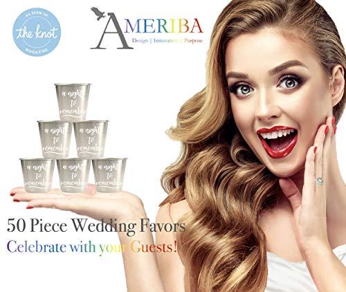 50 Piece Wedding Favors Set | Environmentally-Friendly Stainless Steel 1.5oz Shot Glasses | Groomsmen + Bridesmaid for Bachelor Bachelorette Parties | Metallic Silver, 50 ()