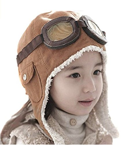 LIWEIKE Children Pilot Aviator Hat, Warm Baby Kid Winter Earflap Pilot Cap Aviator Hat Beanie Flight Helmet (Coffee) -