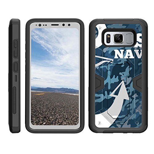 TurtleArmor | Samsung Galaxy S8 Active Case | G892 [Clip Caliber] Premium Heavy Duty Armor Kickstand Impact Rubber Holster Clip Military War Camo Design - U.S. Navy Camo