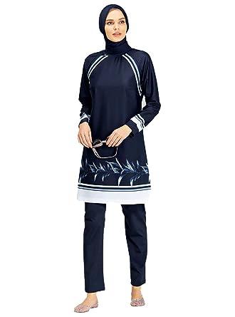 86e6785700225 Turkish Muslim Women Fully Covered Swimsuits Islamic Hijab Modesty Swimsuit  Costume Beachwear Burkini (S)