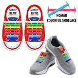 Homar Kids Elastic Athletic Flat No Tie Shoelaces - Best In Sports Outdoors Fan Shop Footwear Shoelaces - Once And For All Silicon Shoe Laces Perfect For Sneaker Boots Oxford Sport Shoes - Colorful | amazon.com