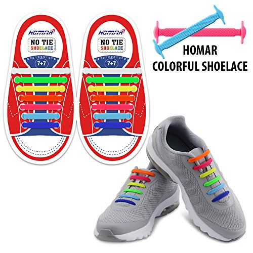 Homar Kids Elastic Athletic Flat No Tie Shoelaces - Best in Sports Outdoors Fan Shop Footwear Shoelaces - Once and for All Silicon Shoe Laces Perfect for Sneaker Boots Oxford Sport Shoes - Colorful