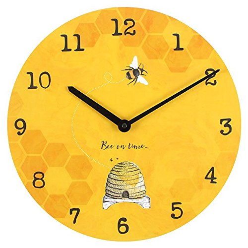 Bee On Time 34cm Bee Bright Warm Sunshine Yellow Wall Clock
