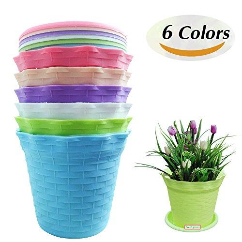 Large plastic flower pots amazon jthm imported resin material wavy edge 6 colors plastic flower pots suitable for tiny plants succulent plants pots size 41 x 25 x 35 workwithnaturefo