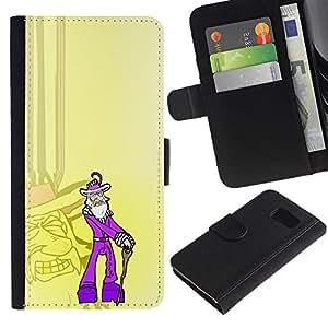 KLONGSHOP // Tirón de la caja Cartera de cuero con ranuras para tarjetas - Púrpura Antiguo Pimp divertido - Sony Xperia Z3 Compact //