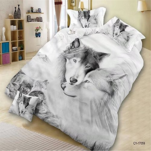 EsyDream 3D Oil Paitning Lover Wolves Valentine's Day Gifts Men's Duvet Cover 4-Pieces No Quilt,100% Polyester