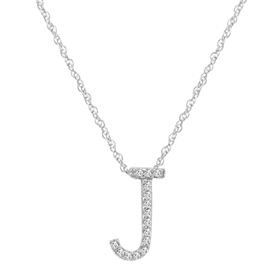 Amazon 14k white gold diamondj initial pendant 16 necklace 14k white gold diamondquotjquot initial pendant 16quot necklace aloadofball Images
