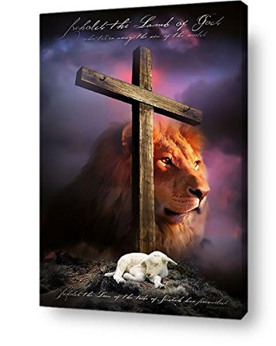 Behold The Lamb of God - Christian Wall Art Canvas Print - Ready to Hang, No Framing Needed - Religious Home Decor Gift