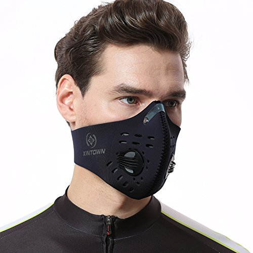 XINTOWN Dustproof Mask Activated Carbon Filtration Exhaust Gas Anti Pollen Allergy PM2.5 Face Mask for Running Cycling and Other Outdoor Activities - Structure Get Face How To Perfect