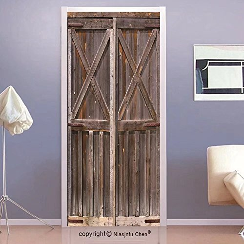 Niasjnfu Chen custom made 3d Door Wall Mural Wallpaper Rustic Decor Old Wooden Barn Door of Farmhouse Oak Countryside Village Board Rural Life Photo Print Bedroom Living Room Dorm BrownFor (Rustic Oak Doors)