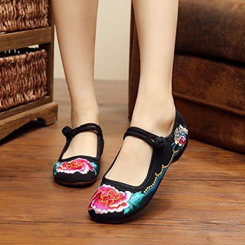 WXT Zapatos bordados finos, lenguado del tendón, estilo étnico, zapatos femeninos, manera, cómodo, zapatos de lona Black