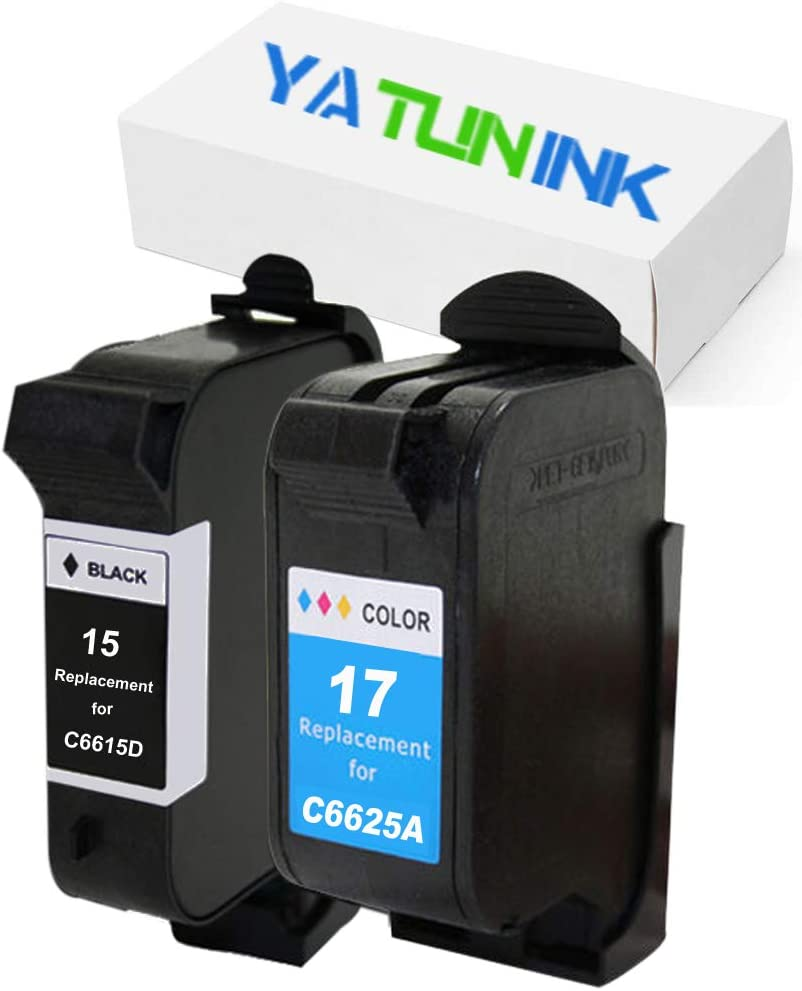 YATUNINK Remanufactured Ink Cartridge Replacement for HP 15 17 Ink Cartridge C6615DN C6625AN for HP Deskjet 825 Deskjet 840 Deskjet 841 Deskjet 842 Deskjet 843 Deskjet 845 Inkjet Printer (2 Pack)