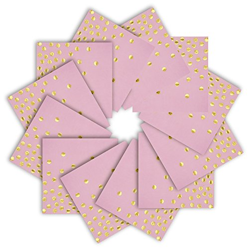 Pink Paper Napkins 6.5'' 50counts 2-Ply Pink and Gold Foil Dots Disposable Napkins for Wedding Birthday Babyshower for Girl Bridal Shower Celebrations Weekend Party (Pink with Gold Dots, 6.5''x6.5'') ()