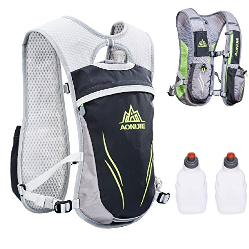 TRIWONDER Outdoors Mochilas Trail Marathoner Running Race Hydration Vest Hydration Pack Backpack (Grey - with 2 Water Bottles)