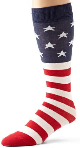 K. Bell Socks Men's Big-Tall Big and Tall American Flag Crew Sock, Red/White/Blue, 13-15 (Shoe Size 12-16)
