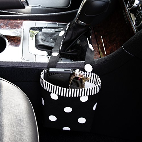 Car Cellphone Caddy, Black Polka Dots, Customizable, Sunglasses Car Holder, Mobile Accessory, Cellphone Holder, Golf Cart Holder, Beach Chair Bag, Pool Chair - Sunglasses Customizable