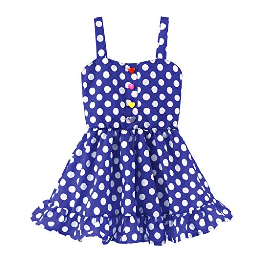 (Sunhusing Toddler Children Sleeveless Sling Colorful Buckle Striped Wavy Printed Dress Princess Sundress)