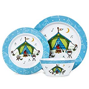 12pcs Melamine Dinnerware Set, Unbreakable Dinner Dishes Set for 4, Camping Picnic RV Use, Tent Pattern