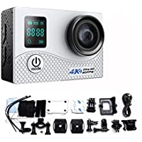 Mengshen 2 Screen 2.0 Inch Action Camera, Real 4K Ultra HD Waterproof Sport WiFi Cam with 16MP 170 Degree Wide Angle for Outdoor Activities K1B White