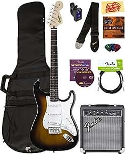 Fender Strat Pack Bundle with Squier Affinity Strat Guitar, Frontman 10G Amplifier, Tuner, Instructional DVD, Gig Bag, Cable, Strap, and Picks - Sunburst