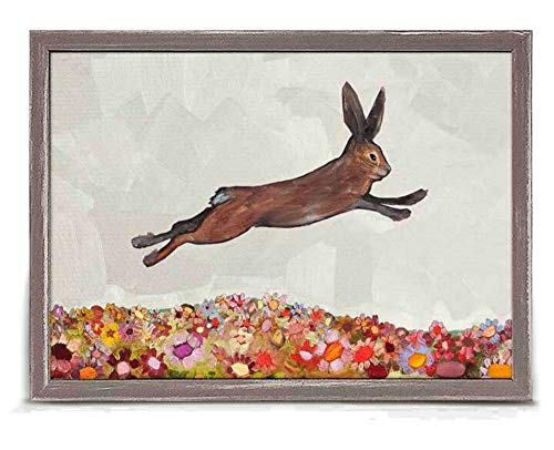 Brown Bunny Jumping Over Flowers Mini Framed Canvas, 7