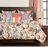 6 Piece Artful Floral All Over Pattern Duvet Cover Set Queen Size, Featuring Flower Leaf Stripe Watercolor Design Comfortable Bedding, Contemporary Stylish Colorful Bedroom Decor, Blue, Green, Multi