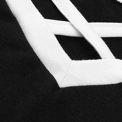 Pull Hauts Sweatwaer Shirts Col Coton de Shirt Nior Dames Longues Manches Blouses Rond Chemises Femme Tee Automne Sweat Ensemble Top Shirt T Ray tte NINGSANJIN TxZPw1pqW