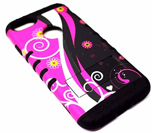 Black Toughskin Case - iPhone 7 Case, JV Accessories - Dual Layer High Impact Shockproof Koolkase Hybrid Rubber Protector Armor Skin Case Cover with Free Screen Film Protector (Hot Pink Black Swirls)