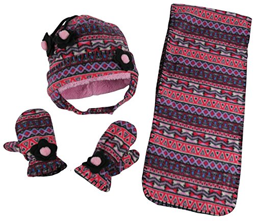 N'Ice Caps Girls Zig Zag Print Soft Sherpa Lined Hat/Scarf/Mitten Set (2-3 Years, Multi Color Aztec Print)