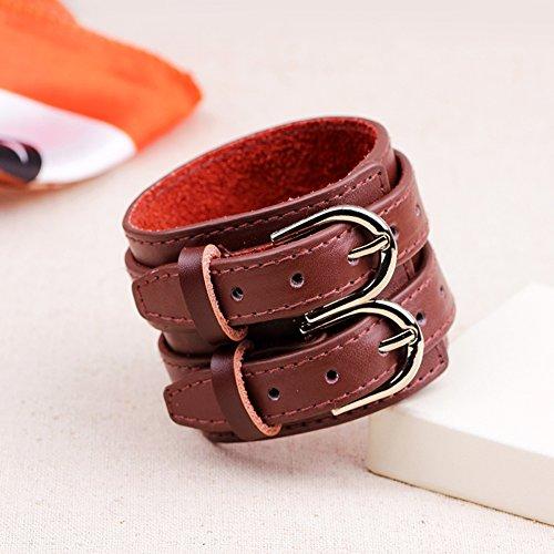 33174c0b93ab prosperveil Pulsera Cinturón doble de cuero punk vintage pulsera ancha  grande para hombres (marrón rojizo)  Amazon.es  Joyería