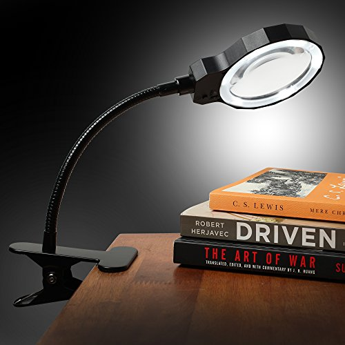 Fancii-Daylight-LED-3X-Magnifying-Lamp-Rechargeable-with-Metal-Clamp-Illuminated-Optical-Glass-Magnifier-Lens-with-3-Adjustable-Light-Settings-Detachable-Aluminum-Handle