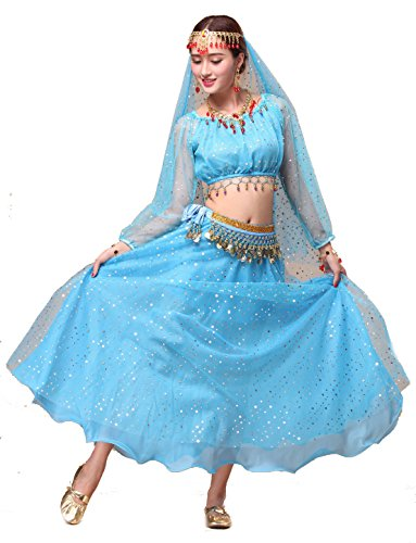 Girls Belly Dance Top Skirt Set Halloween Costume with Head Veil,Waist Chain (Fit 11-12 Years/12-13 Years, Blue(Style 2))