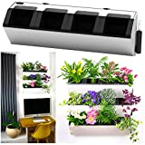 Self Watering Wall Planter by MyEasygro for Indoor and Outdoor | Mounted Hanging Vertical Urban Garden Decor | Green Wall Pots for Flowers, Plants, Herbs, Vegetables, Seeds | 22.5''x7''x7'' (2, White)