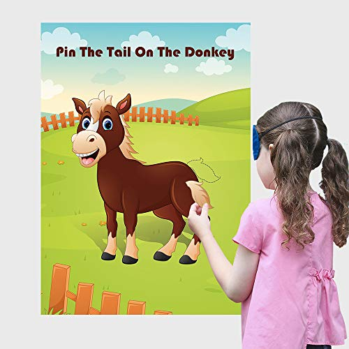 Carnival Fun Pin The Tail On The Donkey Party Game ,for Kids Birthday Decorations Carnival Party Supplies, Game Collection]()