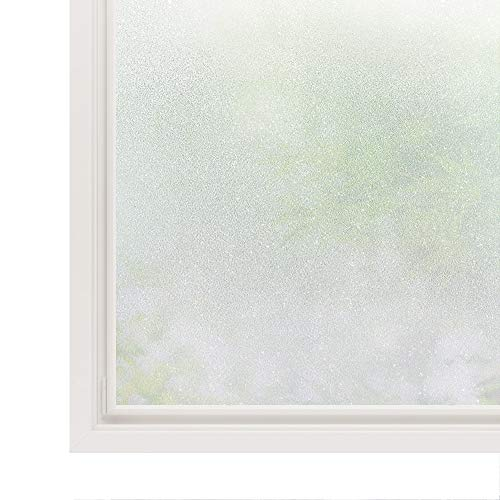 Rabbitgoo Privacy Window Film White Window Frosting Film No Glue Static Cling Window Sticker Opaque Window Cling Frosted Vinyl Sheets for Front Door/Bathroom/Sidelight/Small Windows, 17.7in x 78.7in - Door Front Window Glass