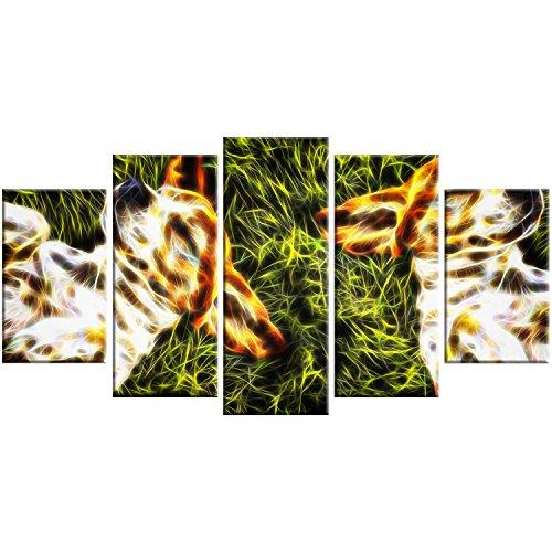 Designart Baby Beagles-Dog Metal Wall Art-MT2455-60x32-5 Panels -  MT2455-373