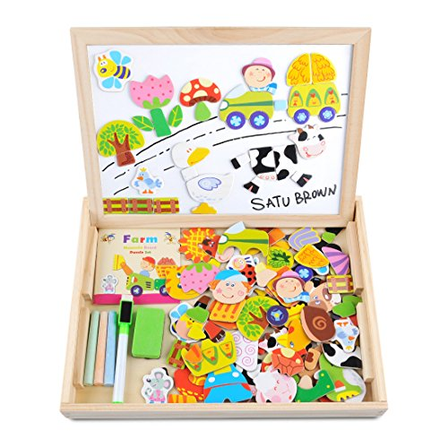 Wooden Toy Magnetic Dry Erase Board Puzzles 100 Pieces Games, Satu Brown Double Face Jigsaw& Drawing Easel Chalkboard Popular Educational Learning Toys (Girls Halloween Ideas)