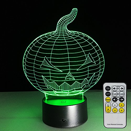 Halloween Pumpkin Lights with Remote Controller LED Touch 7 Colors Changing Table Desk Lamp Optical Illusion Light USB Charging Acrylic Lamp for Halloween Gifts for Kids Lamp Halloween (Halloween Painted Pumpkins)
