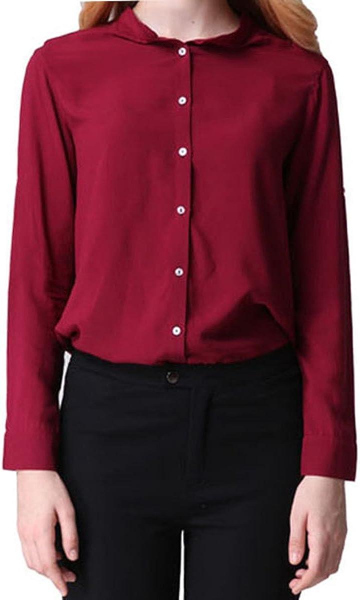 Purpura Erizo Colores Mujeres Camisa Fruncida Camisas Con Manga Larga Blusas, Vino Rojo, M: Amazon.es: Ropa y accesorios